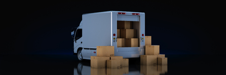 Foto per white delivery truck with cardboard boxes. 3d render - Immagine Royalty Free
