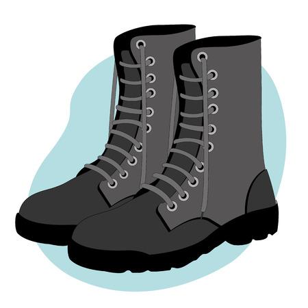 Ilustración de Illustration representing a military combat boots safety equipment - Imagen libre de derechos