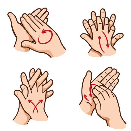 Illustration for Illustration of a person washing hands in Their four steps, nail, palm, between fingers and the top - Royalty Free Image