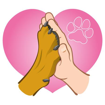 Ilustración de Illustration human hand holding a paw, heart, Caucasian. Ideal for catalogs, informative and veterinary institutional materials - Imagen libre de derechos