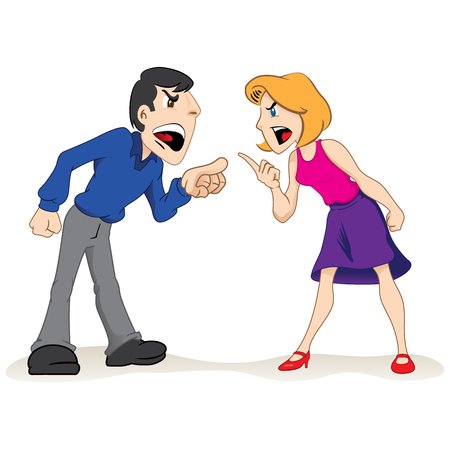 Illustration pour Illustration two people man and woman arguing, fighting couple. Ideal for educational and institutional materials - image libre de droit
