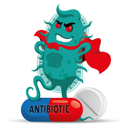 Illustration pour The cartoon depicts a superbug microorganism with a super villain cap, getting strong and resistant because of medicine or antibiotic. Ideal for informative and medicinal materials - image libre de droit