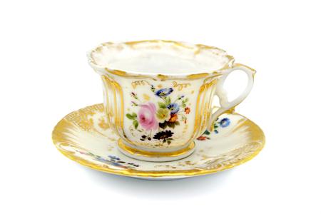 Foto de antique biedermeier time coffee cup on white isolated background - Imagen libre de derechos