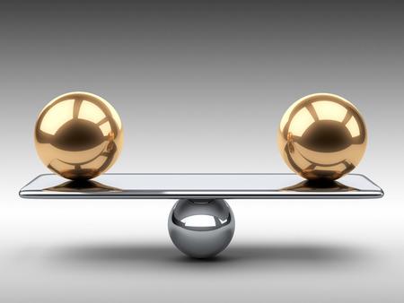 Photo pour Balance between two large gold spheres. 3d illustration on a grey background. - image libre de droit