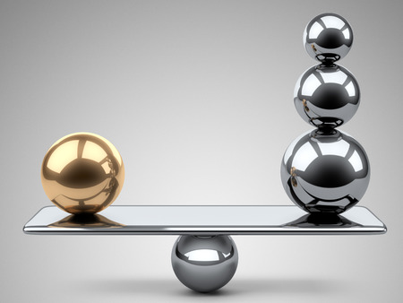 Photo pour Balance between large gold and steel spheres. 3d illustration on a grey background. - image libre de droit