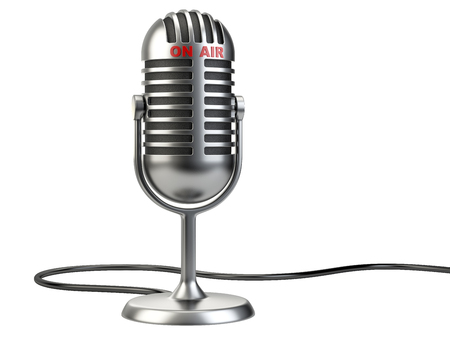 Photo for Retro style microphone with on air sign isolated on a white background - Royalty Free Image