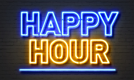 Happy hour neon sign on brick wall background mural