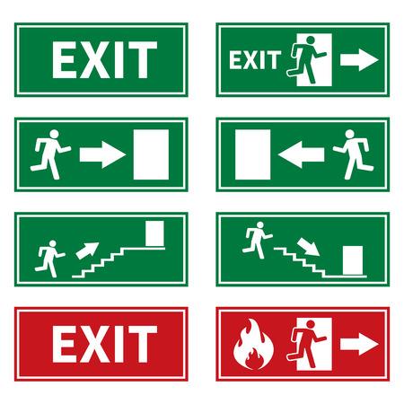 Illustration pour Emergency Fire Exit Signs - image libre de droit