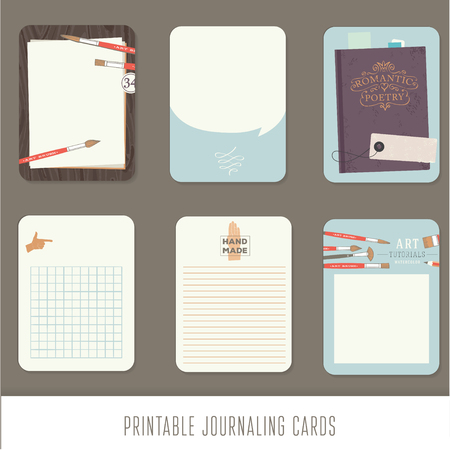 Illustration pour Journaling cards, notes, stickers, labels, tags with cute decorative illustrations. Template for scrapbooking, wrapping, notebooks, notebook, diary, decals. Vintage vector art tools. - image libre de droit