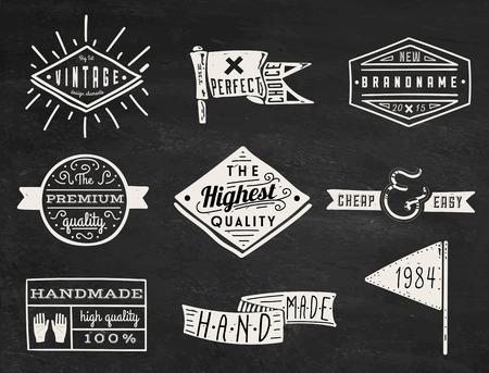 Ilustración de Set of chalk hipster vintage retro labels and logo on chalkboard background - Imagen libre de derechos
