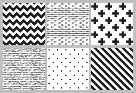 Illustration pour Set of 6 black and white Scandinavian trend seamless pattern - black cross, polka dots, chevrons, stripes, arrow and branch background. - image libre de droit