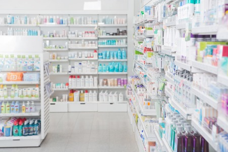 Photo pour Pharmacy interior with shalldow depth of field - image libre de droit