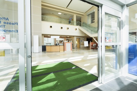 Foto de Door Mats At The Entrance Of Hospital - Imagen libre de derechos
