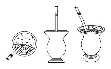 Ilustración de Cuia with Yerba mate, water and Bombilia. Outline only. - Imagen libre de derechos