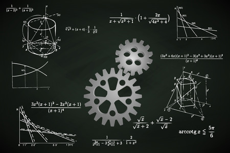 Illustration pour industrial cogwheel on blackboard with math calculations vector illustration - image libre de droit