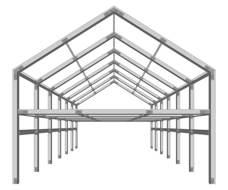 Foto per steel frame building project scheme isolated on white vector illustration - Immagine Royalty Free