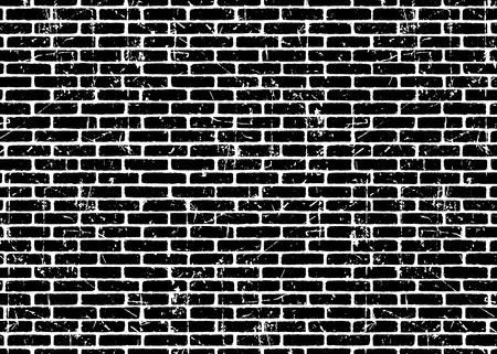 Ilustración de Brick wall texture pattern.Black on white bricks.  Grunge and distressed effect. Vector illustration background  for fashion, surface design for web, home decor, fashion, surface, graphic design - Imagen libre de derechos