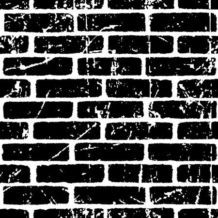 Ilustración de Brick wall texture seamless pattern. White on black bricks. Grunge and distressed effect. Vector illustration background  for fashion, surface design for web, home decor, fashion, surface, graphic design - Imagen libre de derechos