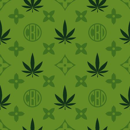 Illustration for Marijuana seamless pattern. Green Weed vector wallpaper. Cannabis leaf. Tile background. Vector illustration. For web, packaging, wrapping, fashion, decor, surface, graphic design - Royalty Free Image