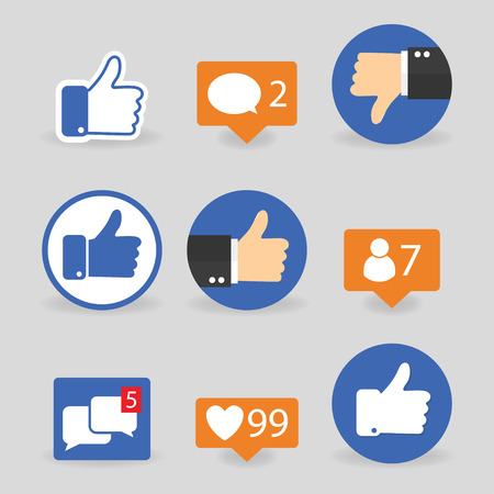 Illustrazione per Set of thumbs up icons thumbs down, like icons on a grey background - Immagini Royalty Free