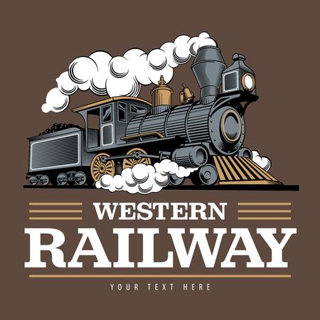 Ilustración de Vintage steam train locomotive, engraving style vector illustration. On brown background. Logo design template. - Imagen libre de derechos