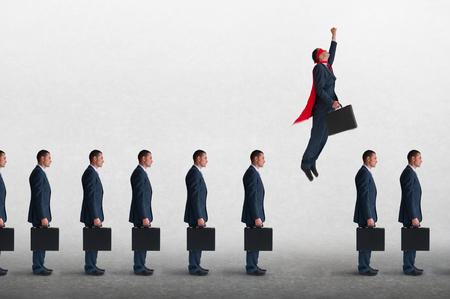 Photo pour superhero businessman overcoming inertia flying away from a static queue of businessmen - image libre de droit