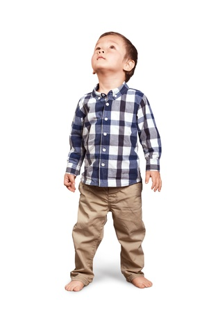 Photo for Baby looking up, cute little boy in studio - Royalty Free Image