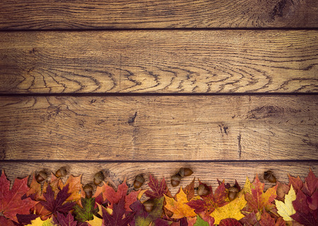 Foto de Autumn leaves and acorns on rustic wooden background. Fall background with copy space. - Imagen libre de derechos