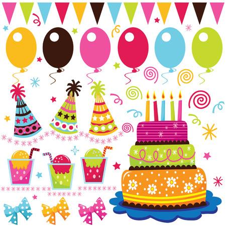 Illustration for Retro Birthday Celebration Elements - Royalty Free Image