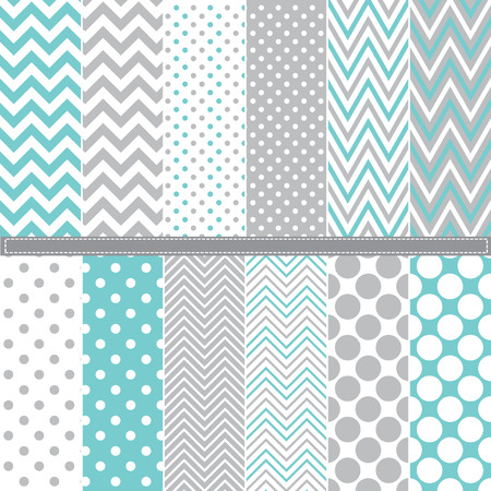 Illustration pour Polka Dot and Chevron seamless pattern set - image libre de droit
