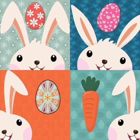 Illustration pour Retro Easter Bunny with Painted Eggs - image libre de droit