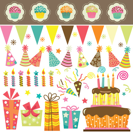 Illustration pour Birthday Party Celebration Set - image libre de droit