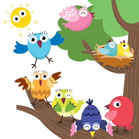 Illustration pour Cute Birds Family - image libre de droit