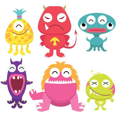 Illustration pour Litter Monsters Set - image libre de droit