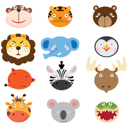 Illustration pour Cute Animal Heads Set - image libre de droit