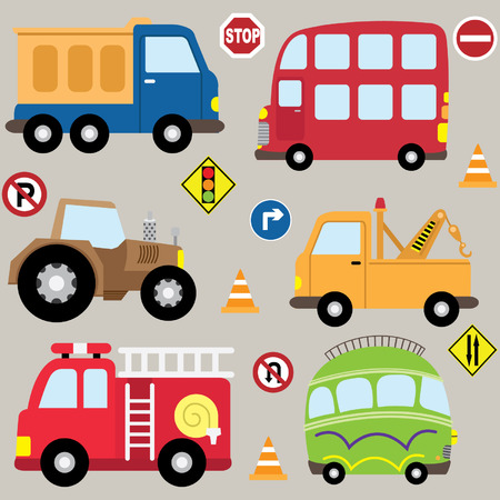 Illustration pour Cartoon  Vehicles transport set - image libre de droit