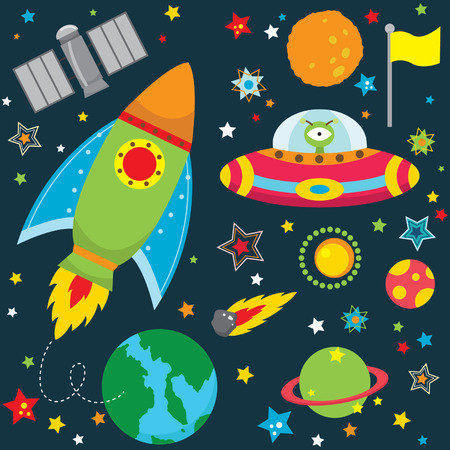 Ilustración de Outer Space Design Elements - Imagen libre de derechos