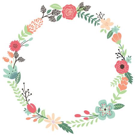 Illustration pour Vintage Flowers Wreath - image libre de droit