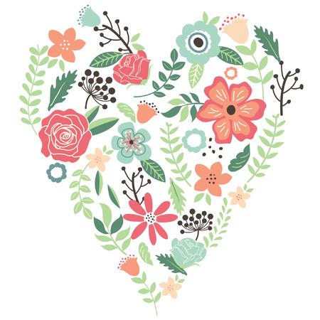Illustration pour Vintage Flowers Wedding Heart - image libre de droit