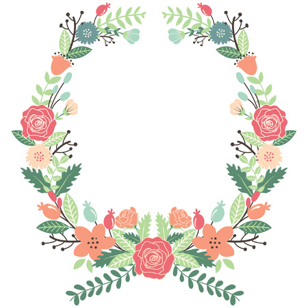 Illustration for Vintage Flowers Wreath - Royalty Free Image