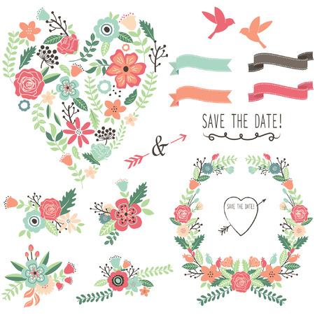 Illustration pour Vintage Flowers Wedding Heart Elements - image libre de droit