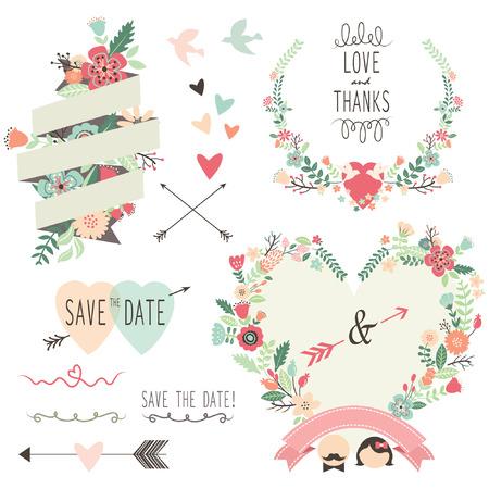 Ilustración de Vintage Flowers Wedding invitation design elements - Imagen libre de derechos