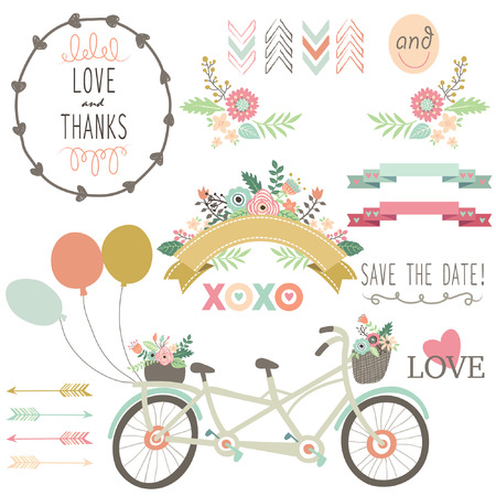 Illustration for Wedding Flora Vintage Bicycles Elements - Royalty Free Image