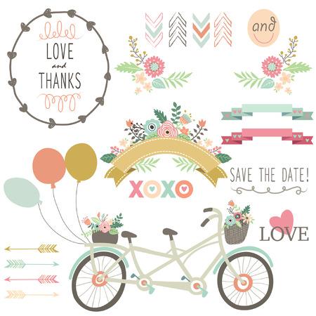 Illustration pour Wedding Flora Vintage Bicycles Elements - image libre de droit