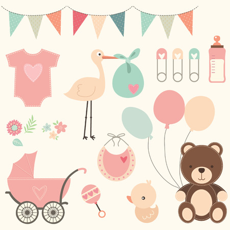 Illustration pour Baby Shower Set - image libre de droit