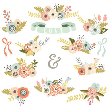 Illustration for Vintage Floral Bouquet Set - Royalty Free Image