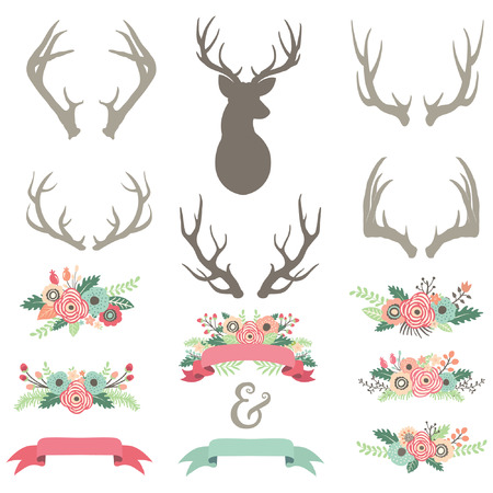 Ilustración de Wedding Flower Antlers Set - Imagen libre de derechos