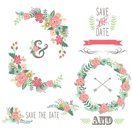 Illustration pour Wedding Vintage Floral Elements - image libre de droit