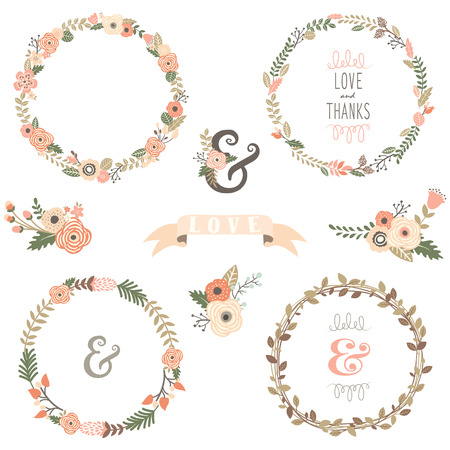 Illustration pour Vintage Flowers Wreath - image libre de droit