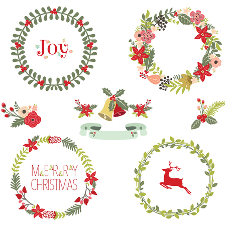 Illustration pour Christmas Wreath Collection - image libre de droit